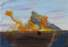 Eld framför berg, olja 2017, 43x52 cm