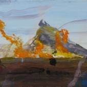 Eld framför berg 43x52 cm
